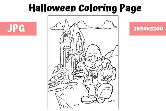 Print on Demand: Halloween Coloring Page - 5 Graphic Coloring Pages & Books Kids By MyBeautifulFiles