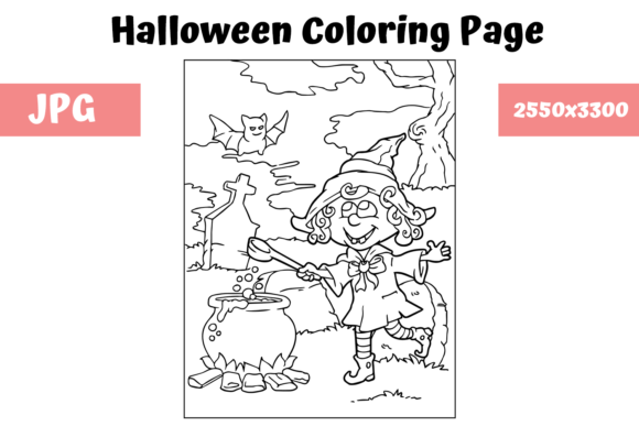 Print on Demand: Halloween Coloring Page - 6 Graphic Coloring Pages & Books Kids By MyBeautifulFiles