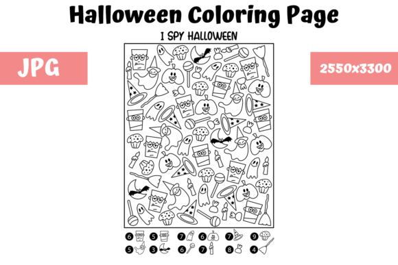Print on Demand: Halloween Coloring Page - I Spy 1 Graphic Coloring Pages & Books Kids By MyBeautifulFiles