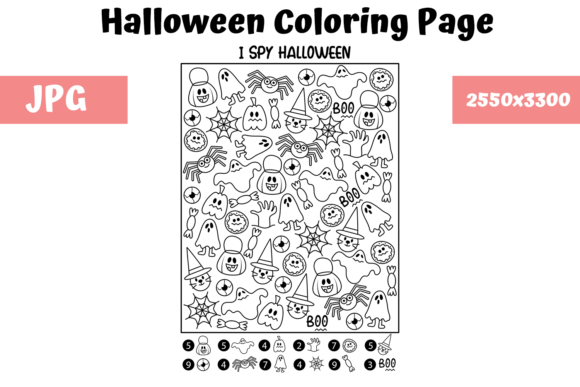 Print on Demand: Halloween Coloring Page - I Spy Graphic Coloring Pages & Books Kids By MyBeautifulFiles
