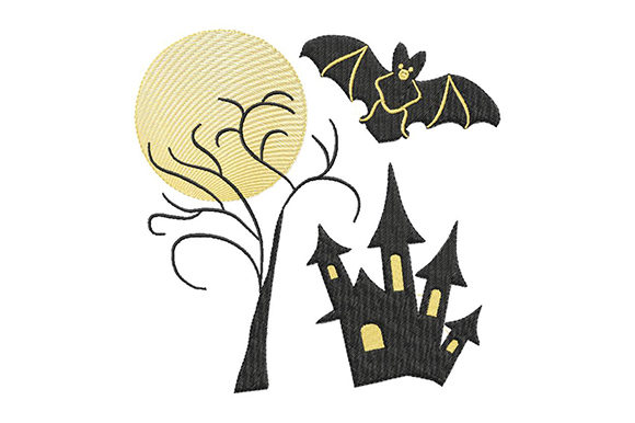 Halloween Moon and Haunted House Embroidery