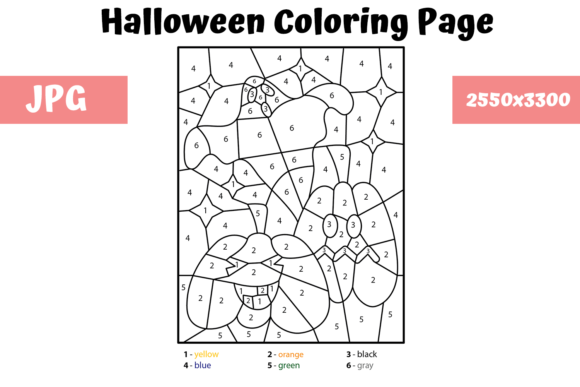 Print on Demand: Halloween Page - Color by Number 2 Graphic Coloring Pages & Books Kids By MyBeautifulFiles