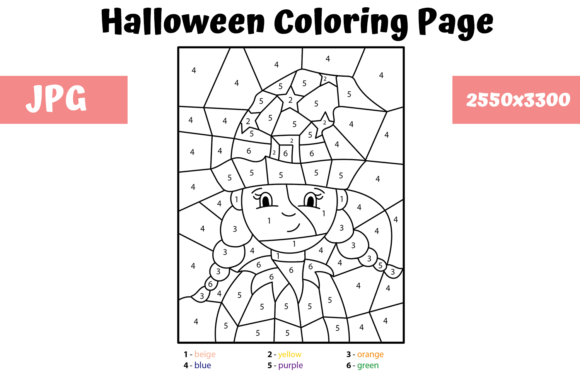 Print on Demand: Halloween Page - Color by Number 3 Graphic Coloring Pages & Books Kids By MyBeautifulFiles