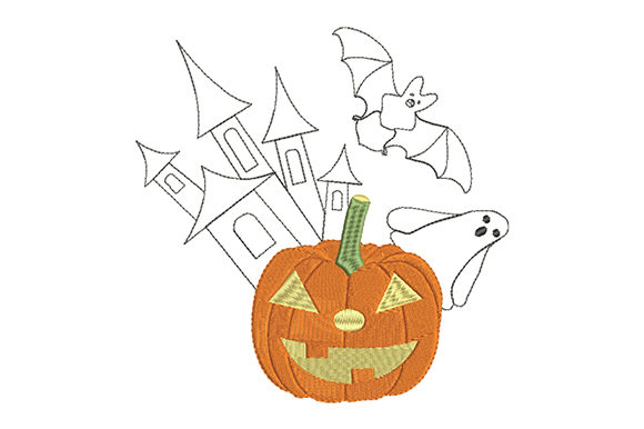 Print on Demand: Halloween Pumpkin Lantern End Bat Halloween Embroidery Design By EmbArt