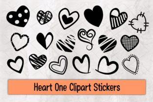 Print on Demand: Heart One Clipart Stickers Graphic Illustrations By 18CC