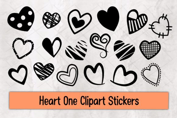 Heart One Clipart Stickers Graphic Illustrations By TakeNoteDesign