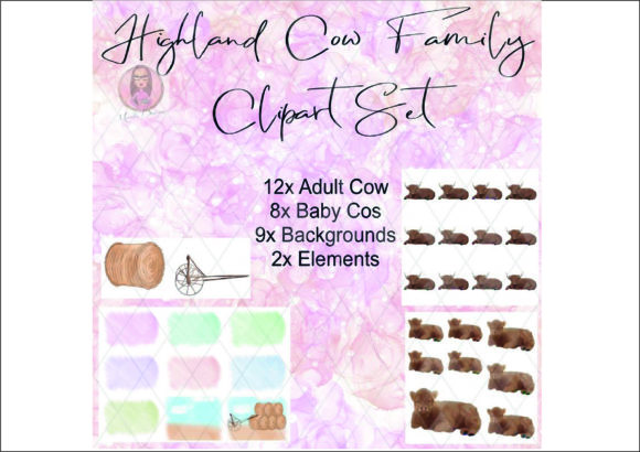 Highland Cow Family Clipart Set Graphic Download
