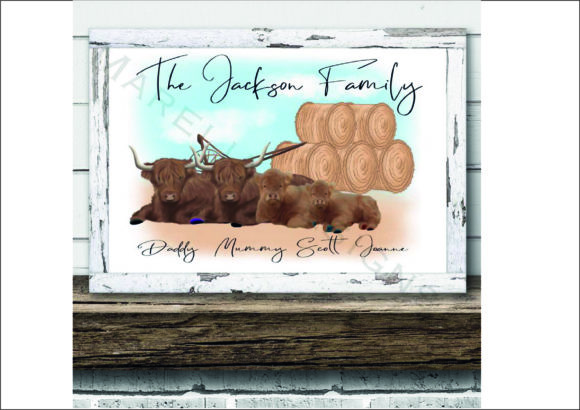 Highland Cow Family Clipart Set Graphic Item