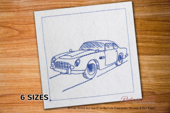 James Bond's 1964 Aston Martin Redwork Transportation Embroidery Design By Redwork101