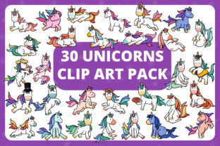 Print on Demand: KDP | 30 Adorable Unicorns Clipart Pack Gráfico Ilustraciones Por RefreshUp