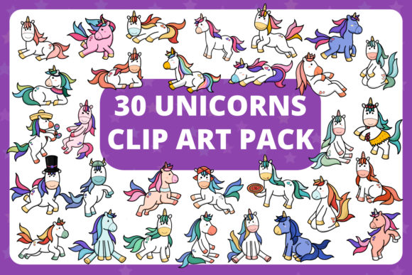 Print on Demand: KDP | 30 Adorable Unicorns Clipart Pack Graphic Illustrations By RefreshUp