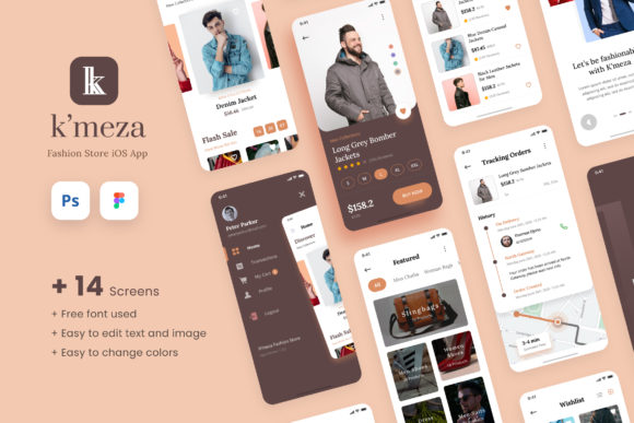 Print on Demand: Kmeza - Fashion Store IOS App Design UI Graphic UX and UI Kits By peterdraw