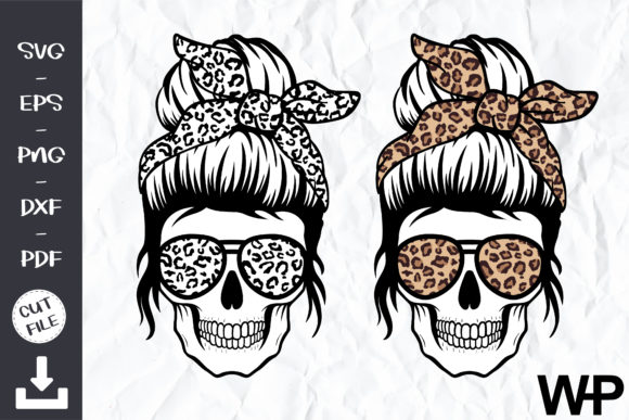 Leopard Mom Skull Svg Graphic Print Templates By wanchana365