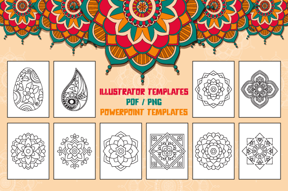 Mandala Coloring Pages for Kids Graphic Download