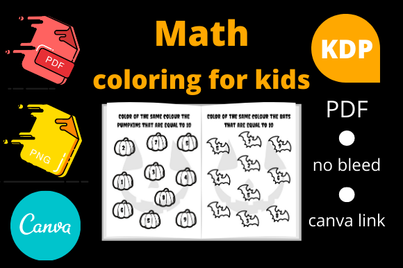 Print on Demand: Math Coloring for Kids Halloween Theme Graphic KDP Interiors By Dunkyshot