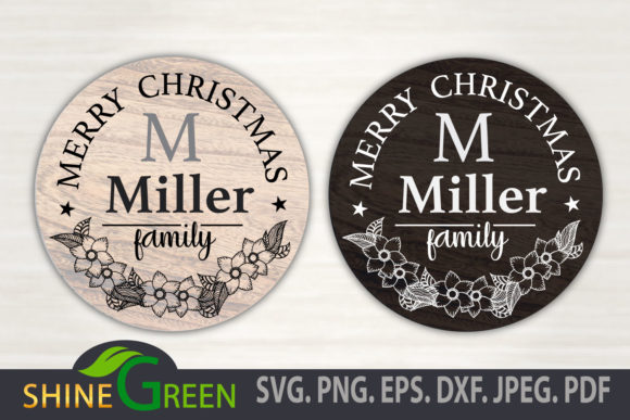 Print on Demand: Merry Christmas Floral Family Monogram Grafik Crafts von ShineGreenArt