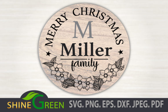 Merry Christmas Floral Family Monogram Graphic Download