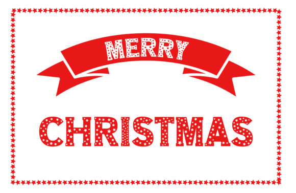 Merry Christmas Star Text Graphic
