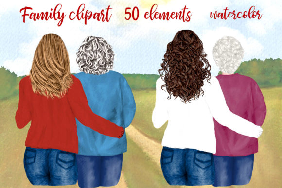 Mother and Daughter, Granny Clipart Gráfico Ilustraciones Por LeCoqDesign