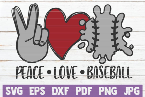 Peace Love Baseball Graphic Crafts By MintyMarshmallows