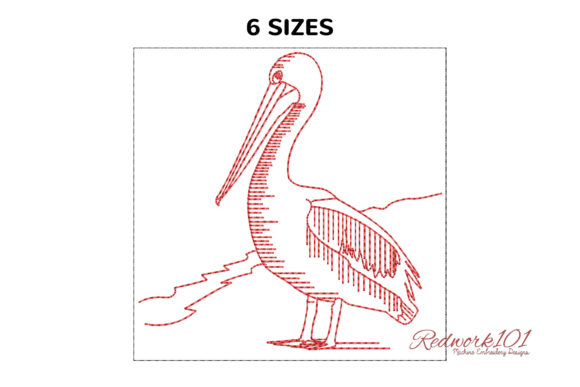 Pelican Standing on Sand Bluework Birds Embroidery Design By Redwork101