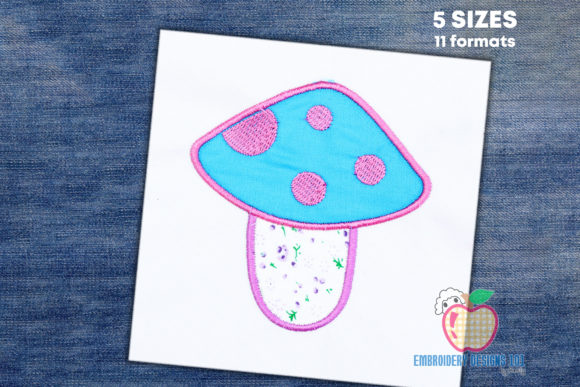 Pink Mushroom Forest & Trees Embroidery Design By embroiderydesigns101