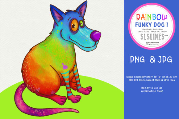 Print on Demand: Rainbow Funky Dog PNG Dog 1 Graphic Illustrations By SLS Lines