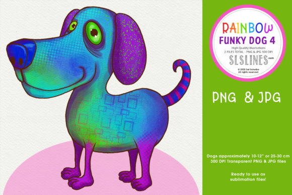 Print on Demand: Rainbow Funky Dog Sublimation PNG Dog 4 Graphic Illustrations By SLS Lines
