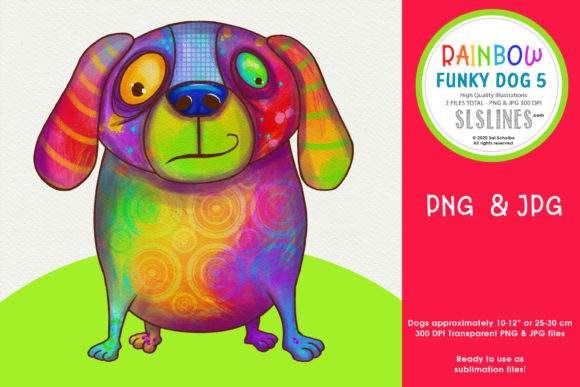 Print on Demand: Rainbow Funky Dog Sublimation PNG Dog 5 Graphic Illustrations By SLS Lines