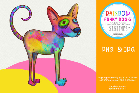 Rainbow Funky Dog Sublimation PNG Dog 6 Graphic Illustrations By SLS Lines