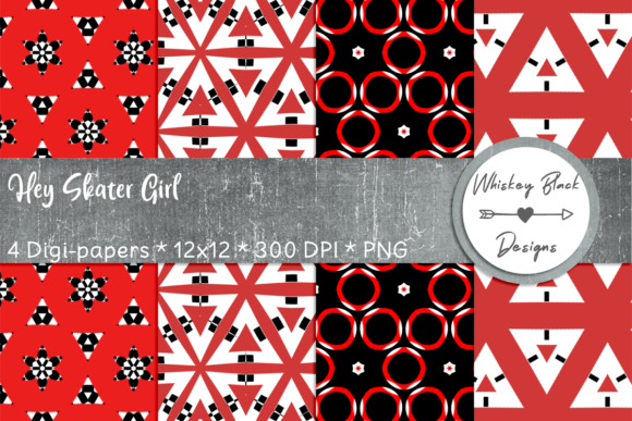 Print on Demand: Red & Black Funky Geometric Paper Graphic Patterns By Whiskey Black Designs