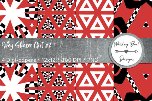 Print on Demand: Red & Black Geometric Morphing Papers Graphic Patterns By Whiskey Black Designs