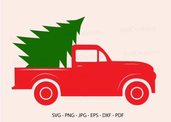Red Truck Christmas Tree Svg, Red Truck Graphic Crafts By RedCreations