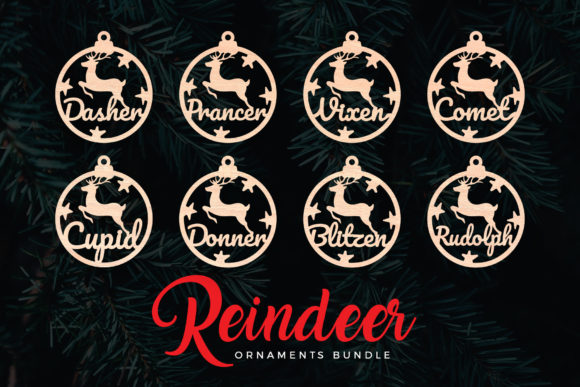Print on Demand: Reindeer Christmas Ornaments Graphic Crafts By DTCreativeLab