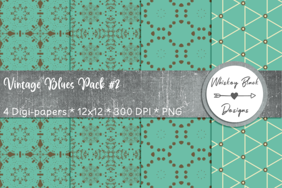 Print on Demand: Retro Vintage Blue & Brown Fancy Paper Graphic Patterns By Whiskey Black Designs