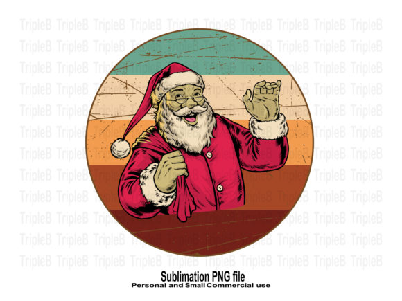 Print on Demand: Santa Claus Retro Style Sublimation Graphic Crafts By TripleBcraft