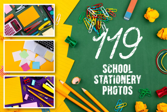 Set of 119 School Stationery Photos Graphic Education By lunarts
