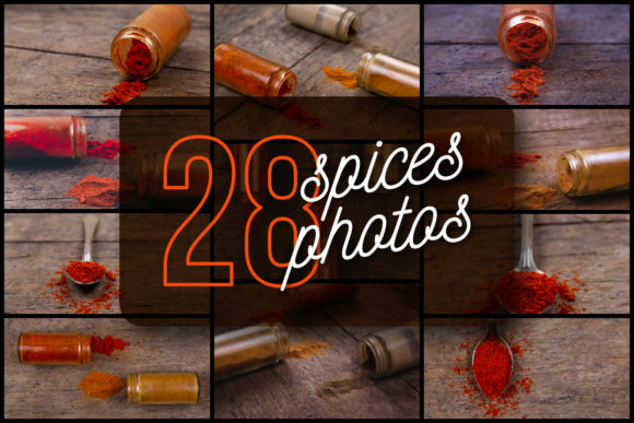 Set of 28 Spices Photos Graphic Food & Drinks By lunarts