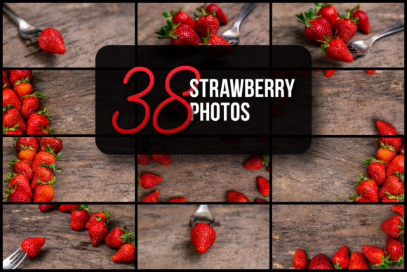 Set of 38 Strawberry Photos Graphic Food & Drinks By lunarts