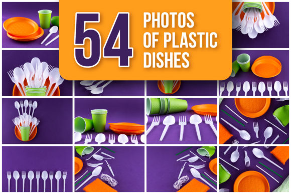 Set of 54 Photos of Plastic Dishes Graphic Food & Drinks By lunarts