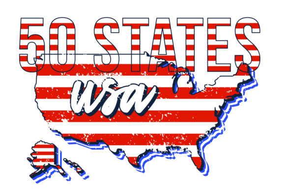 Set of US 50 Grunge States Map Graphic Objects By lunarts