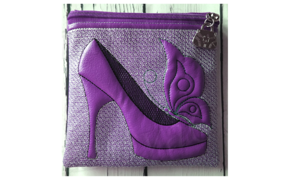 Shoe with Butterfly Zip Bag - in the Hoop Sewing & Crafts Embroidery Design By ImilovaCreations