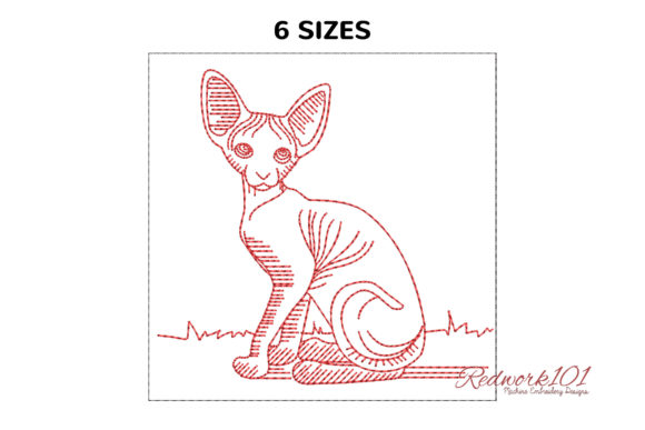 Sphynx Cat Posing at Home Redwork Cats Embroidery Design By Redwork101