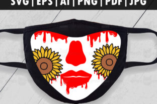 Sunflower Halloween/Fall Face Mask Graphic Crafts By Glint Design