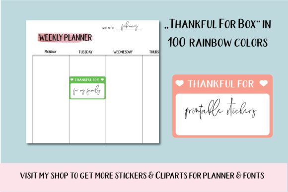Thankful Planner Stickers, Gratitude Box Graphic Objects By Aneta Design
