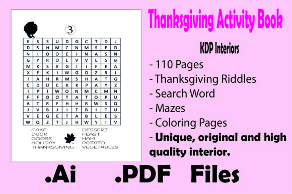 Thanksgiving Activity Book for Kids- Kdp Graphic Download