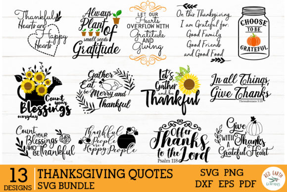 Thanksgiving Quotes Bundle Graphic Crafts By redearth and gumtrees