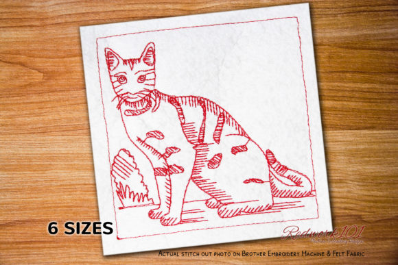 The Brown Spotted Bengal Cat Redwork Cats Embroidery Design By Redwork101