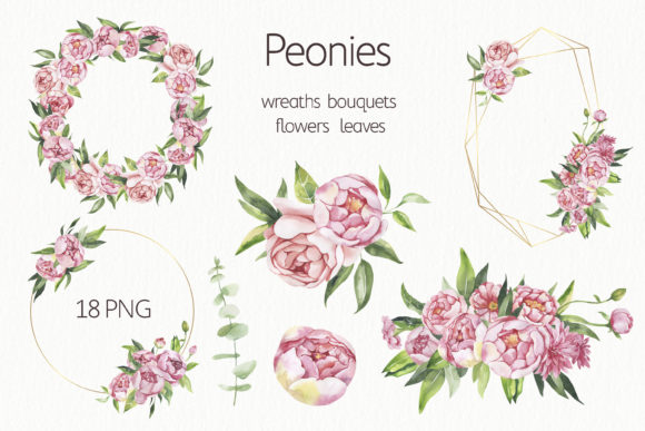Watercolor Floral Frames Clipart. Graphic Illustrations By olesiafrolowa