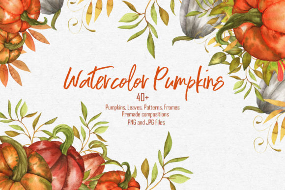 Print on Demand: Watercolor Pumpkins Collection Graphic Illustrations By tanatadesign